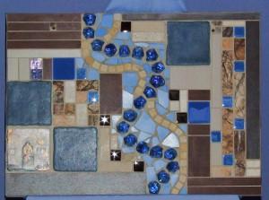 Mosaikbild in Blau