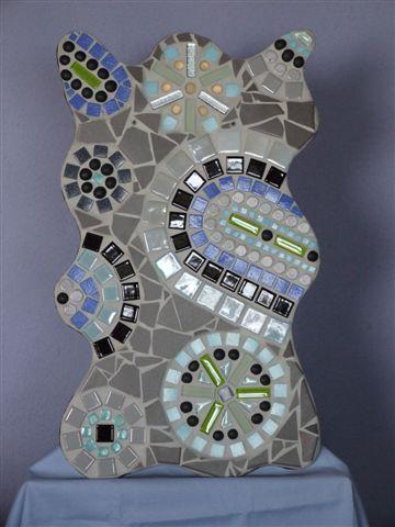 Mosaikbild in Grau, Grün und Blau