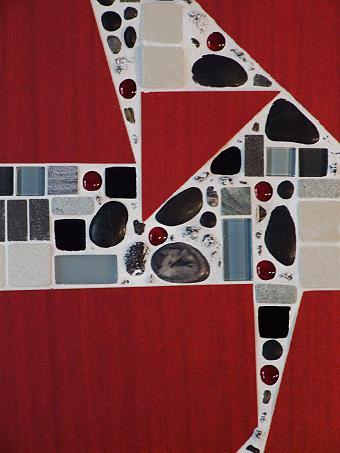Mosaikbild in Rot
