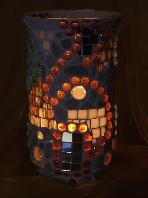 Mosaik Windlicht in Naturfarben