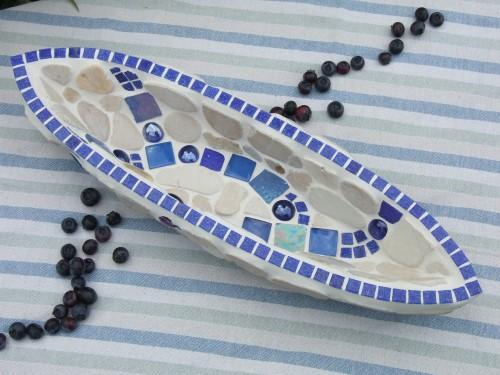 blaue Mosaikschale aus Glas und marmor