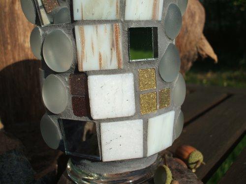Mosaik Windlicht in weiß, grau, gold und kupfer
