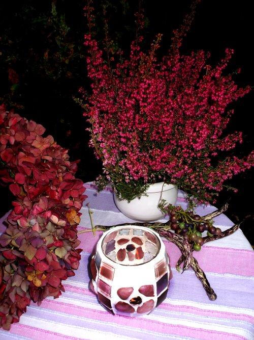 rosa Mosaik Windlicht und Hortensien dekorieren