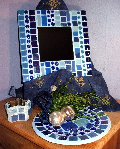 Blauer Mosaikspiegel