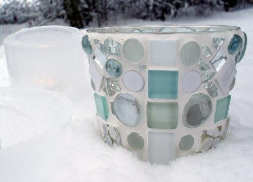 weißes Mosaik Windlicht