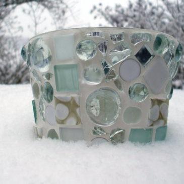 Mosaik Windlicht in weiß