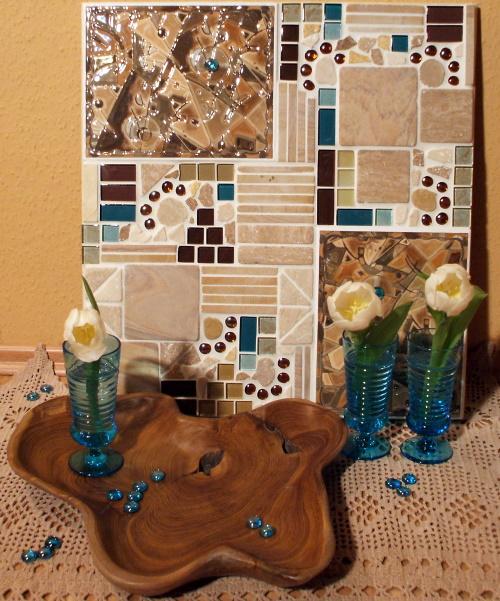 Mosaikbild in tuerkis und beige