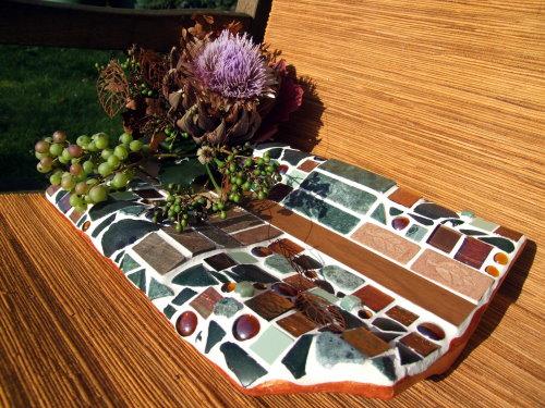 Mosaikschale in kupfer grün