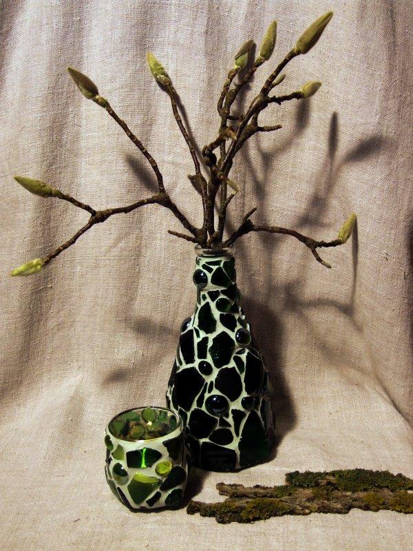 Gruene Mosaik Vase