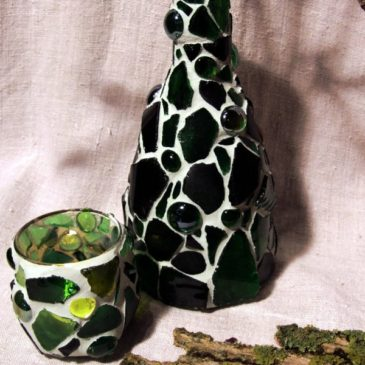 Mosaik Vase in Grün
