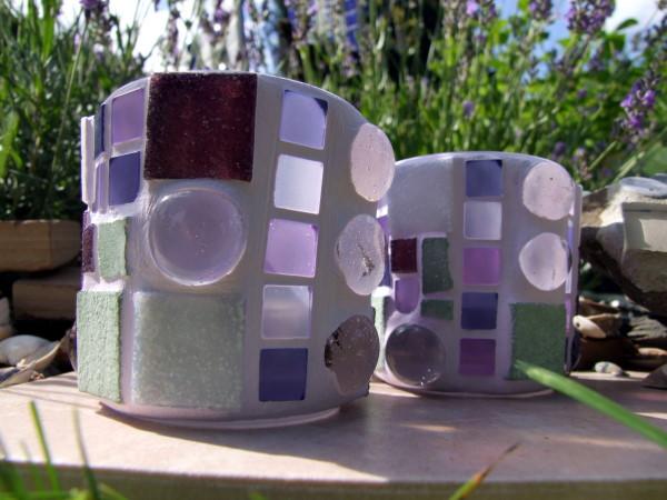 Mosaik Windlichter lavendelfarben