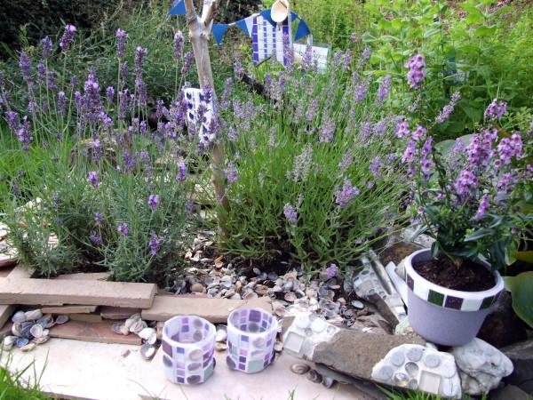 Mosaik Windlichter  Lavendel