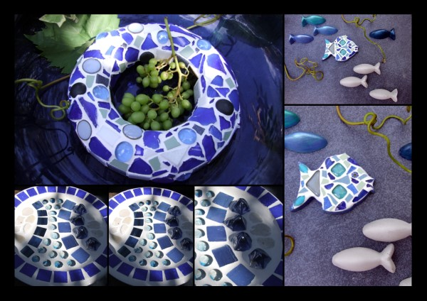 blaue Mosaikdeko