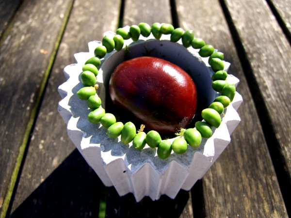 herbstliche kastanien dekoration in grün und grau | meriseimorion, Hause und Garten