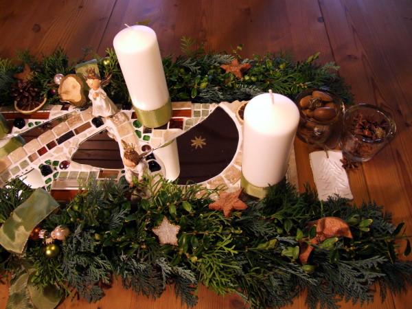 Mosaik Adventsdeko kupfer