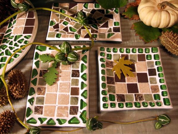 Herbstliche Mosaikteller basteln