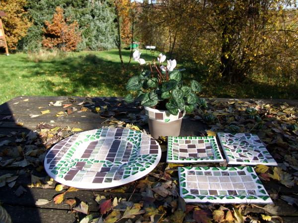 herbstliche mosaikteller