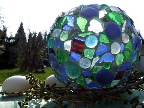 Mosaik Windlicht im Garten