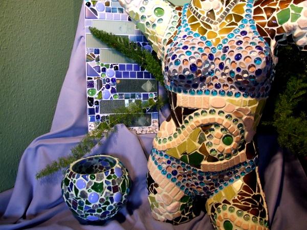 Mosaikkunst in Blau