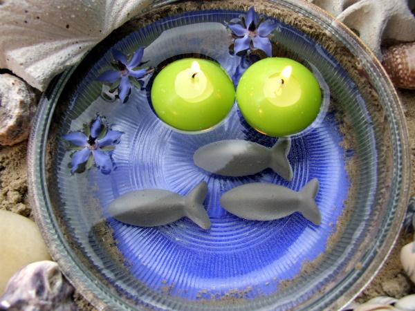 Sommer Tischdeko mit Schwimmkerzen