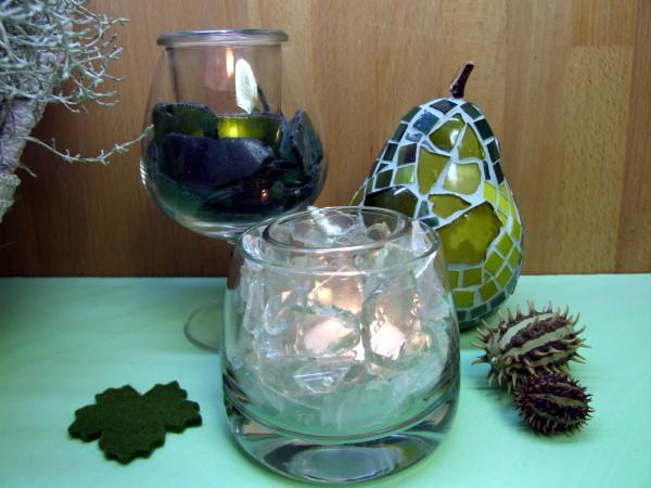 Windlichter mit Strandglas