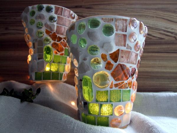 wundersch ne mosaik windlichter meriseimorion. Black Bedroom Furniture Sets. Home Design Ideas