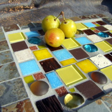 Mosaikteller und Teelichthalter