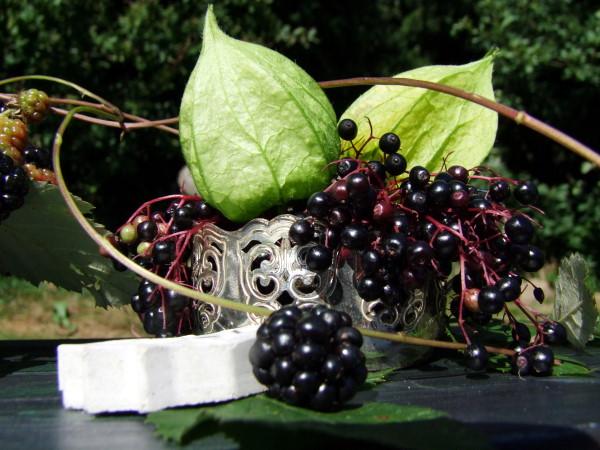 Tischdeko mit Herbstfrüchten