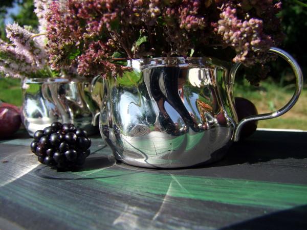 Tischdeko mit bauernsilber