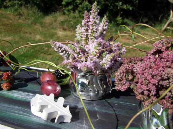 Tischdeko Herbst in Rosa