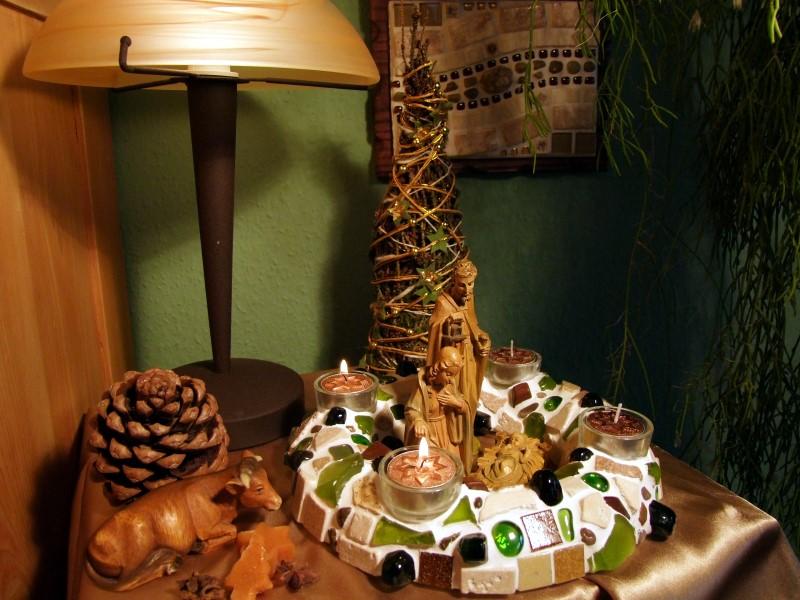Mosaik Kranz mit Weihnachtsdeko