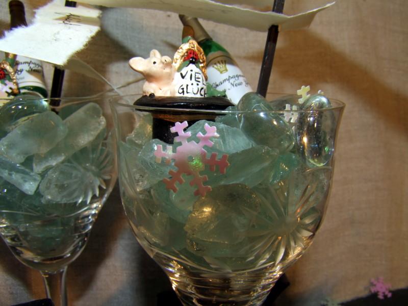 Silvester Tischdeko mit Strandglas