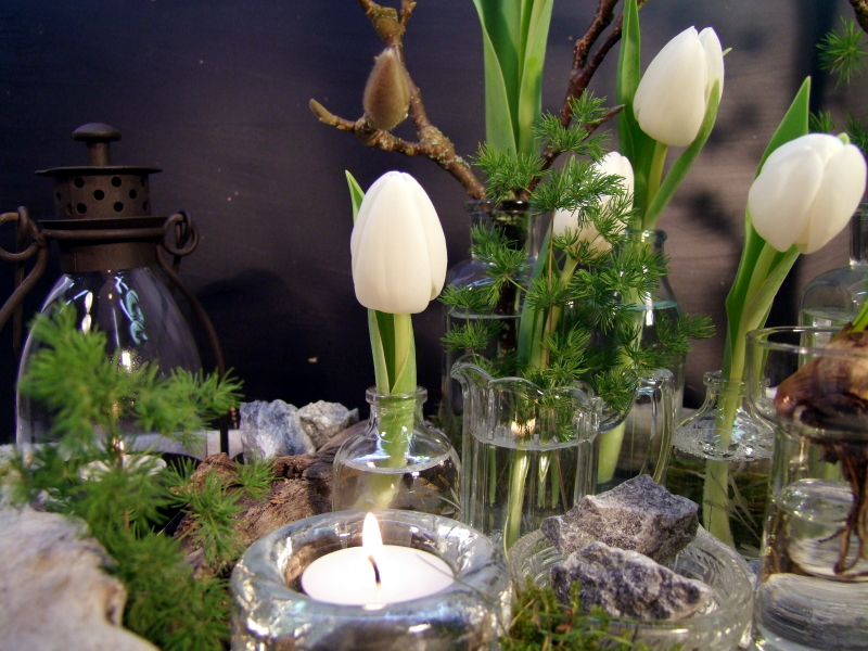 Tischdeko frühling tulpen  Tischdeko Tablett mit weißen Tulpen | Meriseimorion