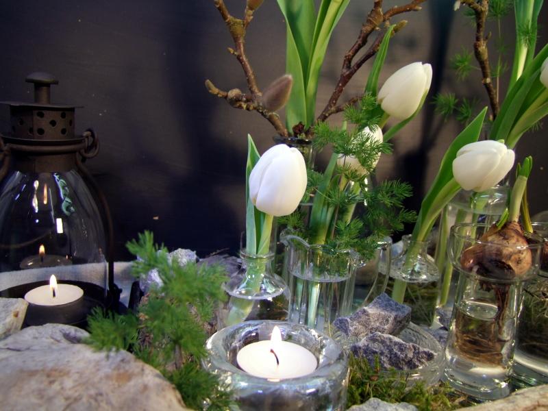 Tischdeko Tablett mit weißen Tulpen
