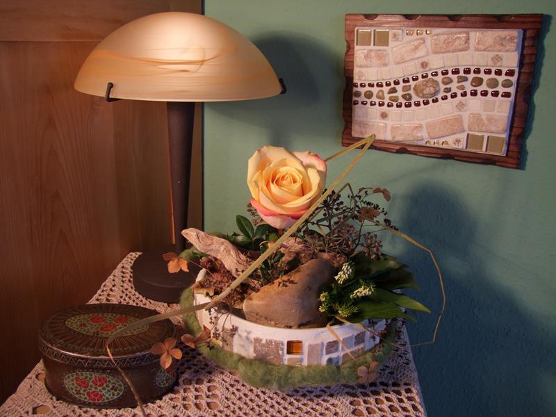 Tischdeko mit einer Rose