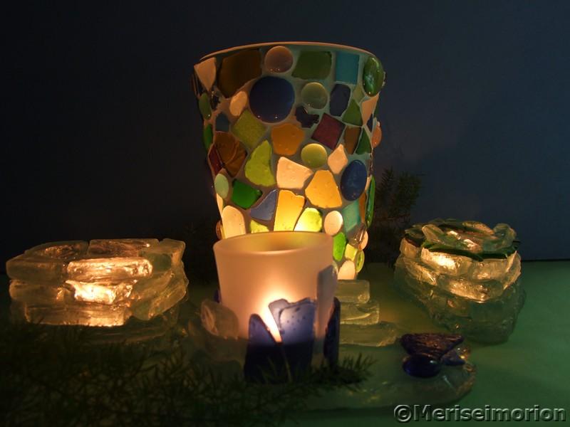 Mosaik Windlichter aus Strandglas