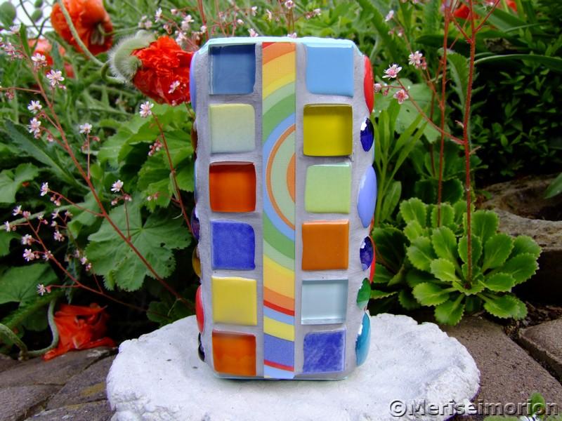 Mosaik Teelichthalter in den Farben der Sixties