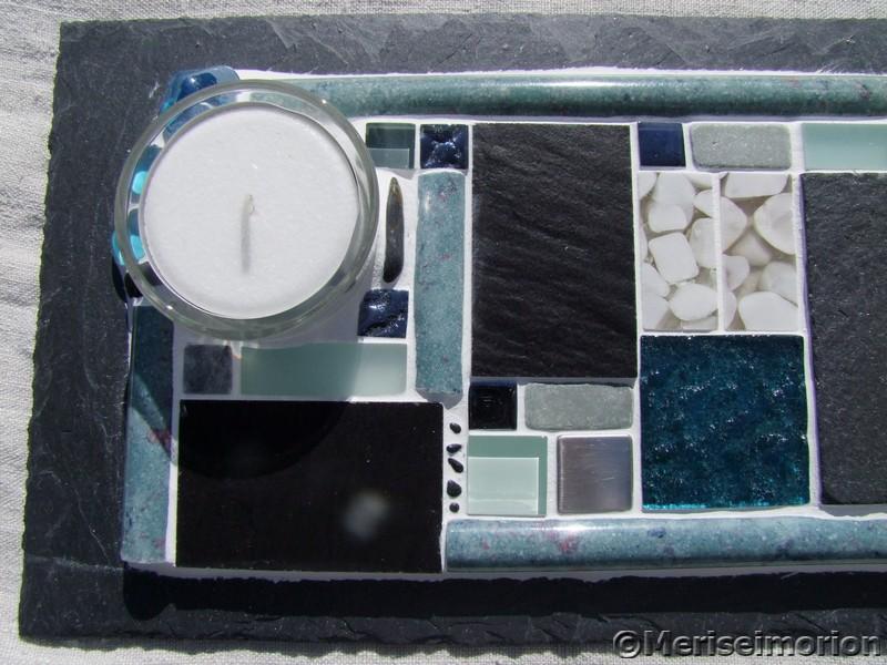 Tischdeko Mosaik in Türkis und Grau