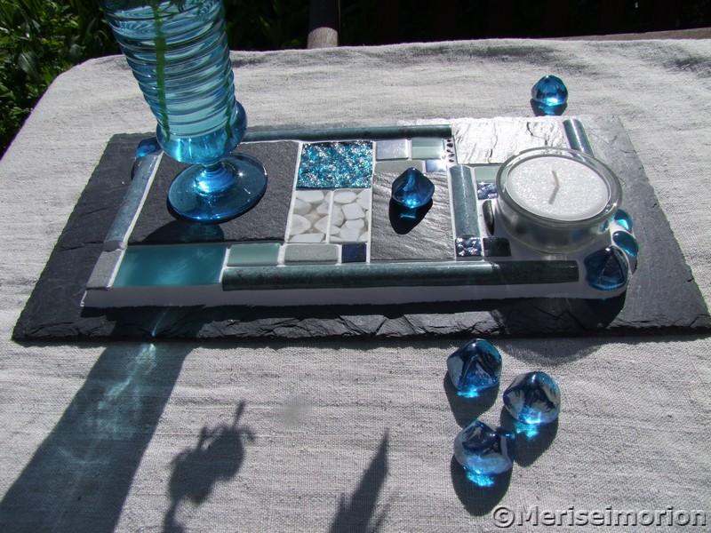 tischdeko mosaik in t rkis und grau meriseimorion. Black Bedroom Furniture Sets. Home Design Ideas
