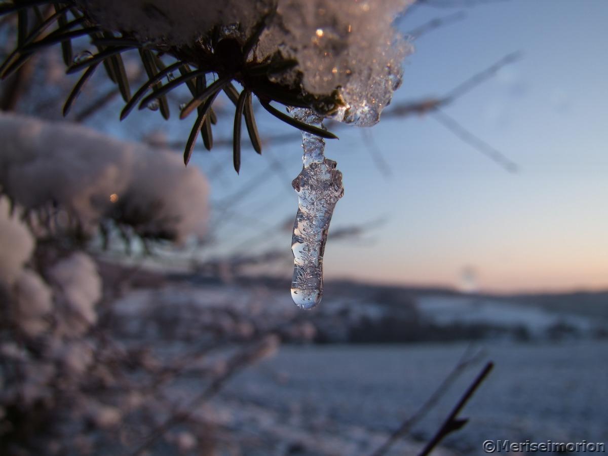 Eiszapfen und Schnee