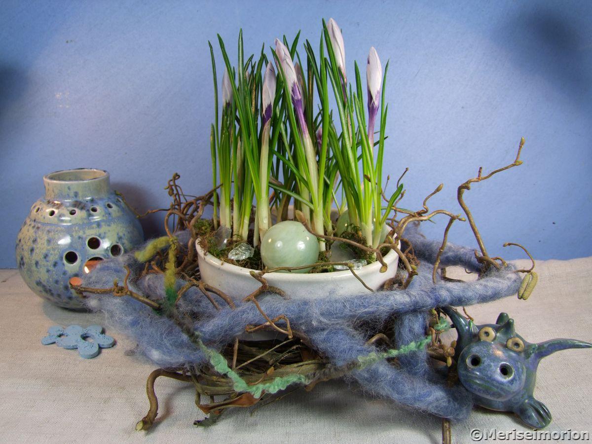 Frühlingsdeko in Blau