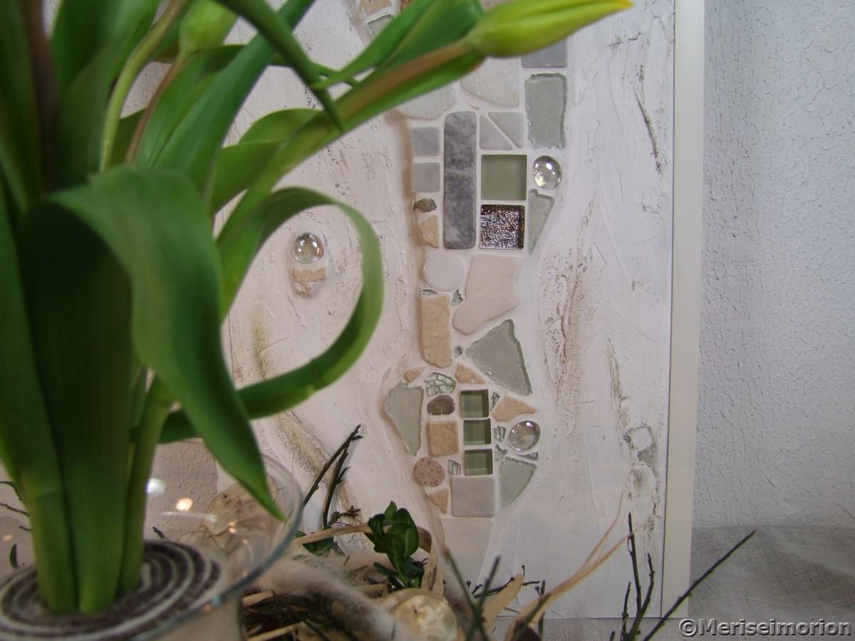 Weißes Mosaikbild