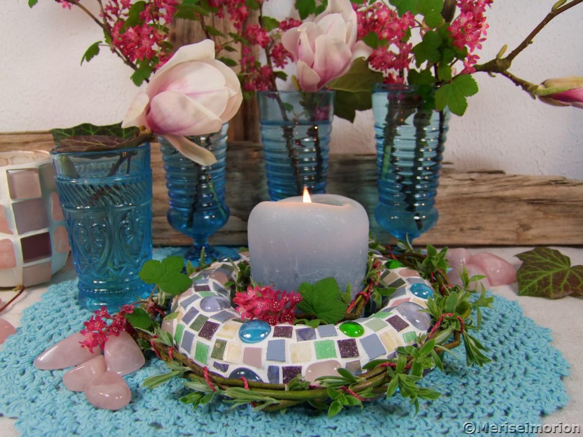 Tischdeko mit Magnolien