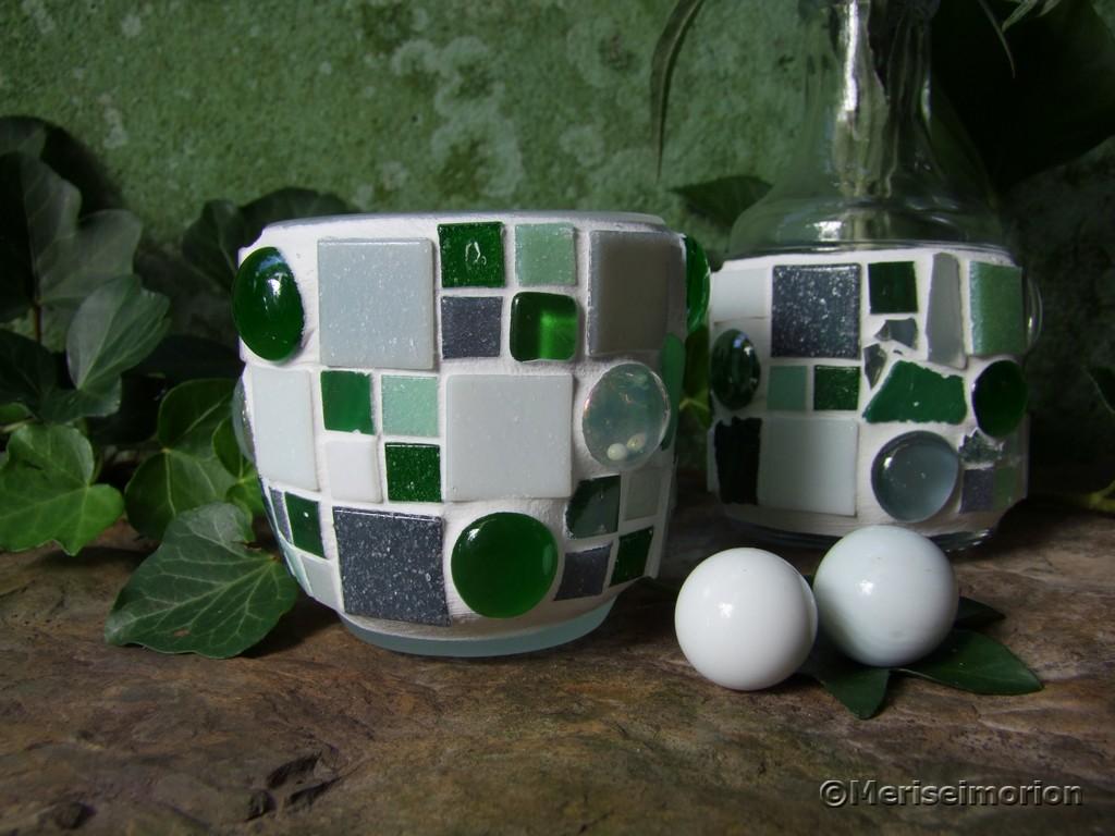 Mosaik Deko in Grün