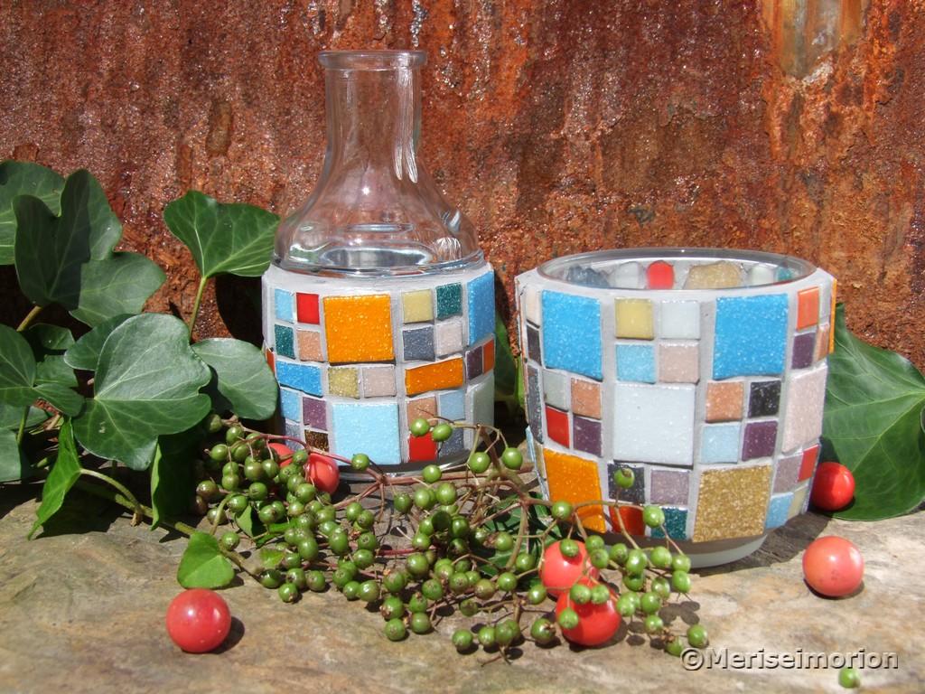 Mosaik Deko in herbstlichen farben