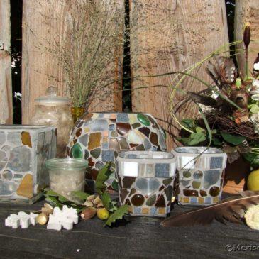 Mosaik Windlichter für die Herbstdeko