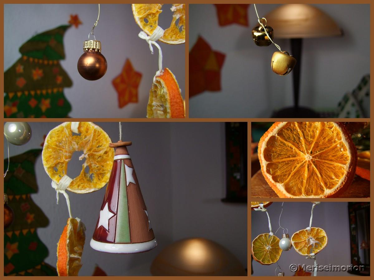 Weihnachtsdeko mit getrockneten Mandarinen