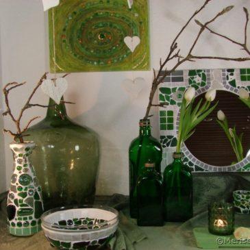 Frühlingsdeko in Grün und Weiß