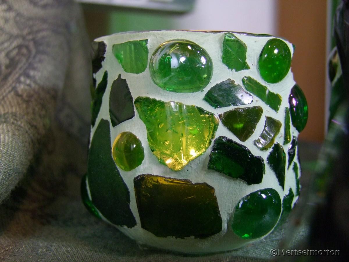 Mosaik Windlicht grün