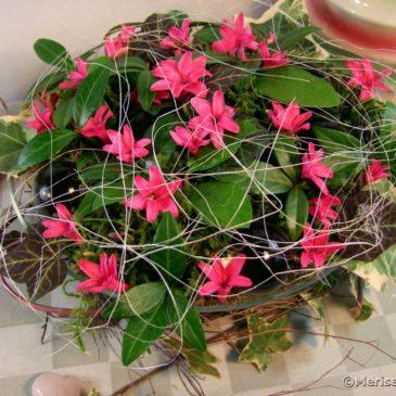 Tischdeko mit Hyazinthen Blüten